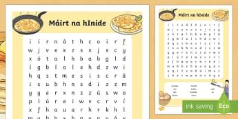 Pancake Tuesday Máirt na hInide Word Search Gaeilge - gaeilge, irish, pancakes, pancake day, shrove tuesday, pancakes, mairt na hinide, word search