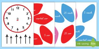 Die Analoge Blumenuhr zum Basteln - Blumen, Blume, basteln, kleben, schneiden, Analoguhr, Uhr, Uhrzeit, Zeit lesen, Zeitvokabeln, Vokabe