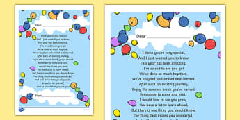 End of Year Poem Printout - end, year, poem, printout, transition