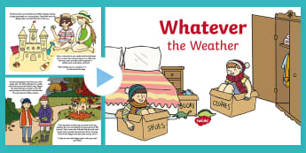 Exploring My World - Whatever the Weather Story PowerPoint - aistear, book, seasons, weather station, sun, wind, snow, rain,