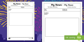 My News Writing Template English/Afrikaans - New Year, January, celebrate, literacy, Januarie, vier, EAL