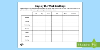Look, Say, Cover, Write, Check Days of the Week Spellings - ESL Days of the Week Spelling