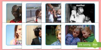 My Family Display Photos English/Mandarin Chinese - photographs, mum, dad, brother, sister, translation