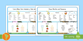 Days, Months and Seasons Word Mat US English/Spanish (Latin) - spring, summer, fall winter,  español, eal