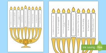 Chanukka Kerzen anzünden Spiel - Hanukkah, Judentum, jüdisch, Juden, Religion, Religionsunterricht, Ethik,,German