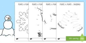 Punto a punto: El invierno - punto a punto, invierno, dibujo, invernal, colorear, números,Spanish