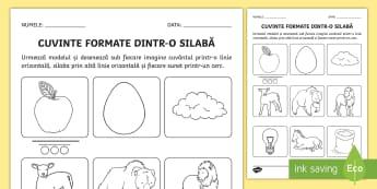 Cuvinte formate dintr-o silabă Fișă de lucru - cuvinte, clasa pregătitoare, silabe, reprezentare, sunet, silabă, cuvânt, Romanian