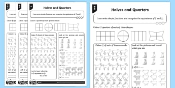 PlanIt Maths Y2 Fractions Halves and Quarters Home Learning Tasks