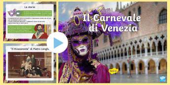 Il Carnevale di Venezia Presentazione PowerPoint - carnevale, festa, paqua, quaresima, veneto, italiano, italian, materiale, scolastico