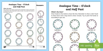 Analogue Time O'Clock and Half Past Worksheet / Activity Sheet - NI KS1 Numeracy, o'clock, half past, analogue time, home learning, worksheet
