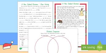 New Zealand Christmas Literacy Activity Sheets