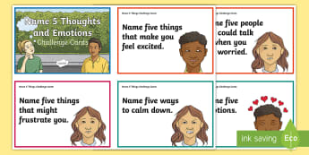 Name 5 Thoughts and Emotions Challenge Cards - Feelings, Talking about feelings, talking about emotions, Anger Management, Mental Health,Scottish