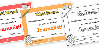 Journalist Journalism Award Certificate - journalist, journalism, journalists, writing, report, certificates, award, well done, reward, medal, rewards, school, general, certificate, achievement