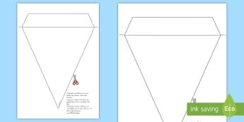 Vorlage Fahnengirlande für die Klassenraumgestaltung - Klassenzimmer, Deko, Dekoration, Girlande, Basteln, Malen, German