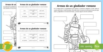 Ficha: Armas de un gladiador romano - worksheet, Roman Spain, Ancient Rome, Cuarto Curso Primaria, Social Science, Ciencias Sociales,Spani