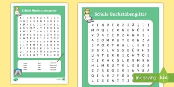 Schule Buchstabengitter - Suchsel, Schulhof, Klassenzimmer, Vokabular, suchen, Wortsuche, ,German