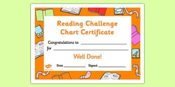 Reading Challenge Chart Certificates Bookworm Themed - Reading Challenge Chart Certificates, Bookworm Themed Certificate, Reading Certificate
