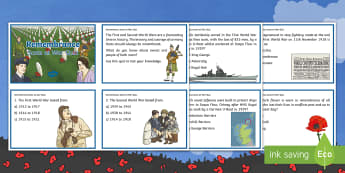 Remembrance - Scots at War Quiz Cards - Second World War, First World war, Scotland, Scottish, people in past societies