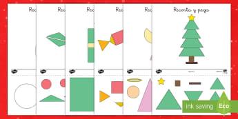 Ficha de figuras: La Navidad - figuras, formas, navidad, objetos de navidad, Spanish