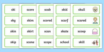 SC, SK Word Cards - sc, sk, word cards, word, cards, sound, sen