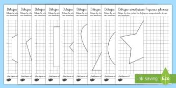 Ficha de actividad: Dibujos simétricos - Figuras planas - mates, matemáticas, simetría, ejes de simetría, ficha, figuras planas, figuras 2D, 2D, formas pla