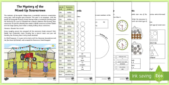 The Mystery of the Mixed Up Scarecrows Maths Game - puzzle, problem solving, reasoning, applying, maths mastery,