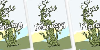 Months of the Year on Beanstalk - Months of the Year, Months poster, Months display, display, poster, frieze, Months, month, January, February, March, April, May, June, July, August, September