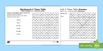 Multiplication 5 Times Tables Wordsearch Activity Sheet English/Romanian - Multiplication 5 Times Tables Wordsearch Worksheet - multiplication wordsearch, times tables wordsea