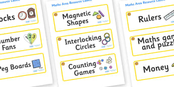 Marigold Themed Editable Maths Area Resource Labels - Themed maths resource labels, maths area resources, Label template, Resource Label, Name Labels, Editable Labels, Drawer Labels, KS1 Labels, Foundation Labels, Foundation Stage Labels, Teaching La