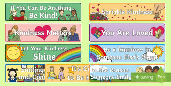 Kindness Banners Display Pack - EYLF, foundation, australia, preschool, kinder, kindergarten, nursery, pre-primary, prep, reception,