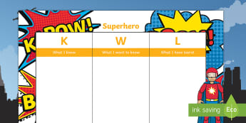 Superhero KWL Grid -  - Self assessment, peer assessment, topic, kwl, grid, superheroes, question words, who, where, what, w