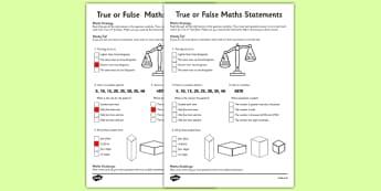 Year 3 True or False Maths Worksheet / Activity Sheet - worksheet, test skills, NAPLAN, problem solving, reasoning