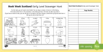 Early Level Book Week Scotland Scavenger Hunt - Scottish Book Trust, Reading Activity, Reading celebration, 27th November, Reading