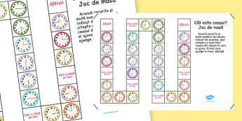 Cât este ceasul? - Joc de masă - Cât este ceasul? -La ora fixă, la fără un sfert, la și un sfert și la și jumătate, Joc - unitati de masura, timp, jocuri, matematica, ceas, ora, ceasul, joc, materiale, materiale didactice, română, romana, material, m