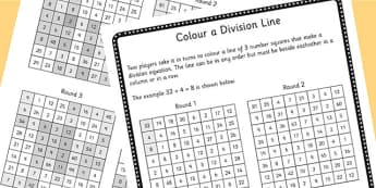 Year 4 Colour the Division Equation Game Sheet - dividing, maths
