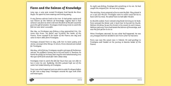 Fionn and the Salmon Of Knowledge Printable Story Sheet - Irish history, Irish story, Irish myth, Irish legends, Fionn and the Salmon of Knowledge, printable story, story sheet