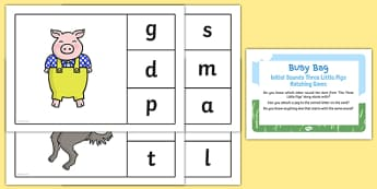Phonic Three Little Pigs Busy Bag Prompt Card and Resource Pack