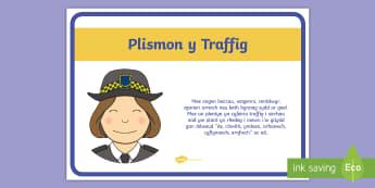 Poster Arddangos Gemau Buarth Plismon y Traffig - chwarae, play, traffig, traffic, follow instructions, dilyn cyfarwyddiadau.,Welsh