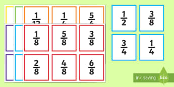 Fraction Action Number Cards