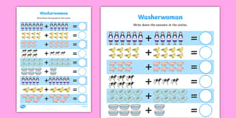 Washerwoman Up to 20 Addition Sheet - mrs wishy washy, washerwoman, addition sheet, 20