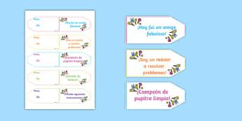 Achievement Brag Tags Spanish - spanish, achievement, brag tags, brag, tag, award, reward, collect, effort