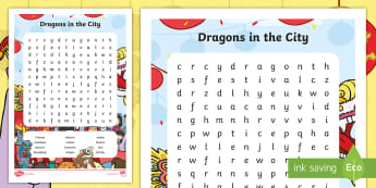 Dragons in the City Word Search - Originals, fiction, Chinese New Year, puzzle, word find, word seek, mystery word, word sleuth, indep