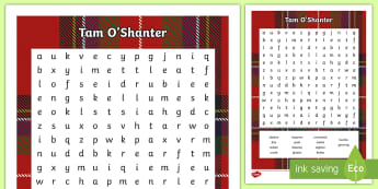 Tam o' Shanter by Robert Burns Word Search - Poem, Burns Night, Literacy, Comprehension, Activity,