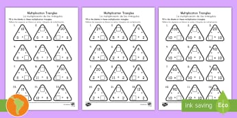 Multiplication Triangles Worksheet / Activity Sheet 2 to 12 Times Tables US English/Spanish (Latin) - Multiplication Triangles Worksheet / Activity Sheet 2 to 12 Times Tables - multiplication triangles, times table