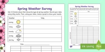 F-2 Spring Weather Survey Activity Sheet - Spring, Australia, Seasons, Weather, survey, tally, graph, data, worksheet