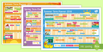2017 - 2018 Academic Year Calendar Display Pack  - 2017-2018 Academic Year A3 Calendar Planner - 2017, 2018, academic, year, calendar, planner,calandar