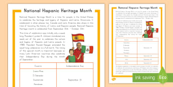 National Hispanic Heritage Month Fact File - Latino, USA, Canada, Latin America, Spanish, Great Minds, inspirational people, celebrations