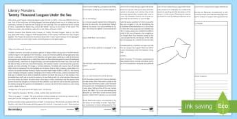 Literary Monsters: 'Twenty Thousand Leagues under the Sea' Worksheet / Activity Sheet - Jules Verne, 20,000 Leagues, adventure, science fiction, monster, Halloween