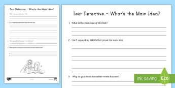 What's the Main Idea Activity Sheet - Main Idea, Supporting Details, Informational Text, Nonfiction, reading Comprehension