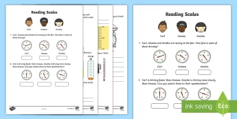 Reading Scales Worksheet / Activity Sheet - reading, scales, activity, sheet, read, maths, worksheet